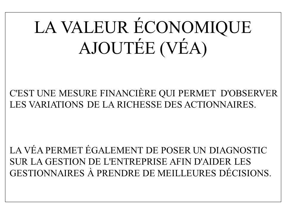 LA VALEUR ÉCONOMIQUE AJOUTÉE (VÉA) C'EST UNE MESURE FINANCIÈRE QUI PERMET D'OBSERVER LES VARIATIONS DE LA RICHESSE DES ACTIONNAIRES. LA VÉA PERMET ÉGA