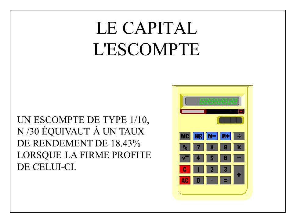 LE CAPITAL L'ESCOMPTE UN ESCOMPTE DE TYPE 1/10, N /30 ÉQUIVAUT À UN TAUX DE RENDEMENT DE 18.43% LORSQUE LA FIRME PROFITE DE CELUI-CI.