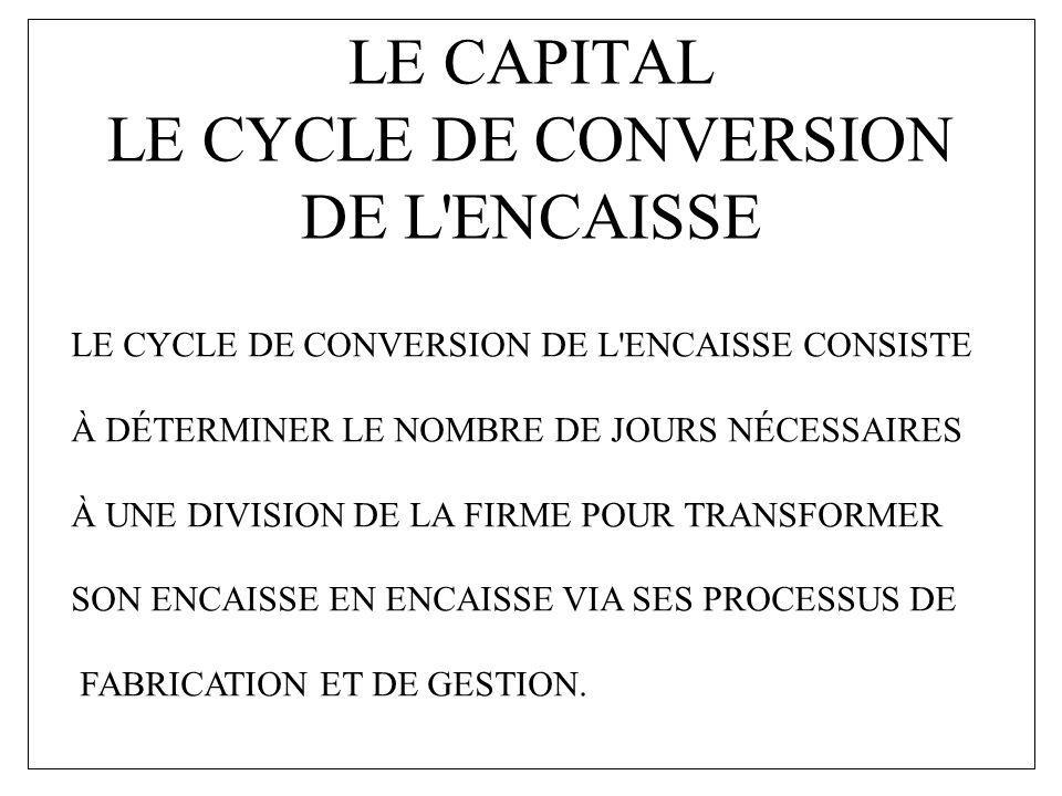 LE CAPITAL LE CYCLE DE CONVERSION DE L'ENCAISSE LE CYCLE DE CONVERSION DE L'ENCAISSE CONSISTE À DÉTERMINER LE NOMBRE DE JOURS NÉCESSAIRES À UNE DIVISI