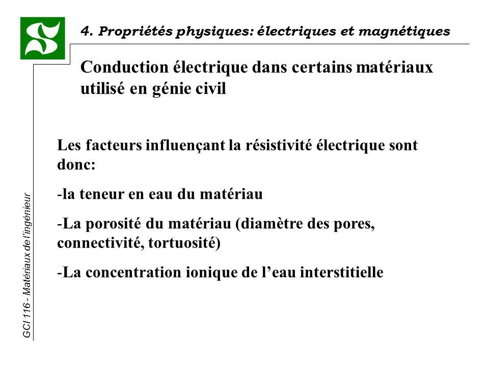 4. Propriétés physiques: électriques et magnétiques GCI 116 - Matériaux de lingénieur Conduction électrique dans certains matériaux utilisé en génie c
