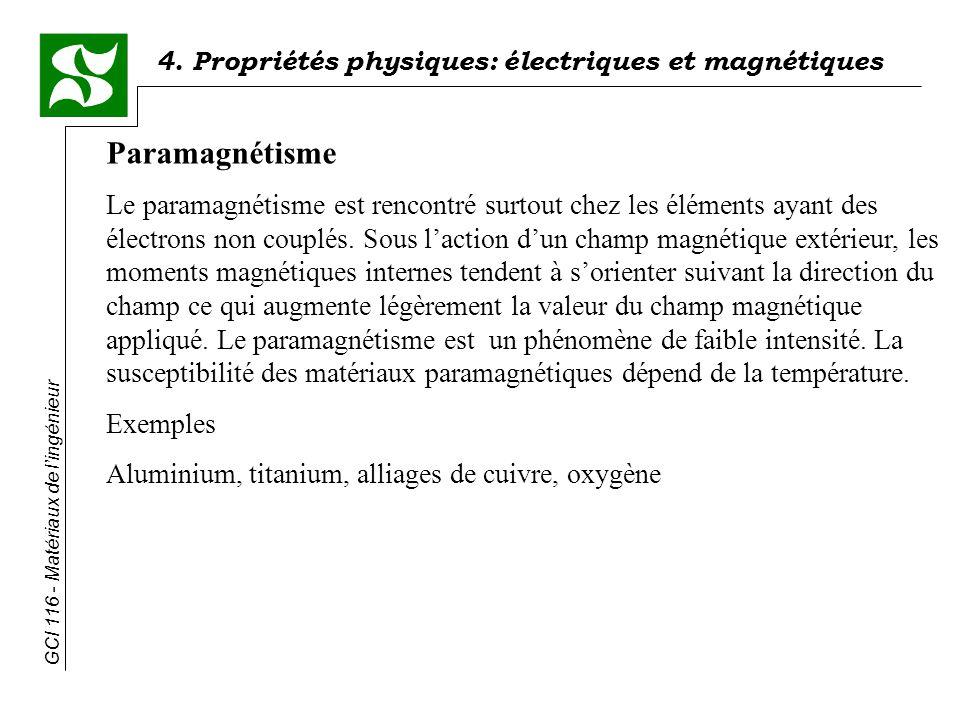 4. Propriétés physiques: électriques et magnétiques GCI 116 - Matériaux de lingénieur Paramagnétisme Le paramagnétisme est rencontré surtout chez les