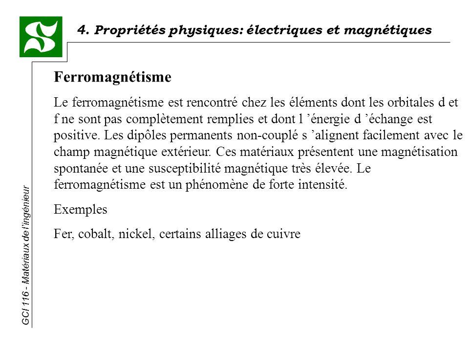 4. Propriétés physiques: électriques et magnétiques GCI 116 - Matériaux de lingénieur Ferromagnétisme Le ferromagnétisme est rencontré chez les élémen