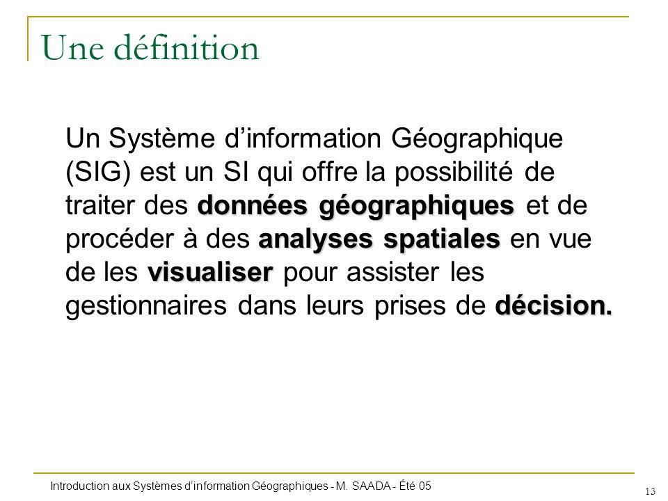 Introduction aux Systèmes dinformation Géographiques - M. SAADA - Été 05 13 Une définition données géographiques analyses spatiales visualiser décisio