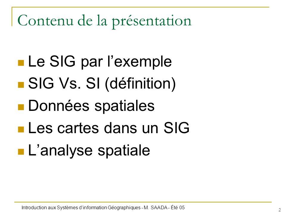 Introduction aux Systèmes dinformation Géographiques - M. SAADA - Été 05 2 Contenu de la présentation Le SIG par lexemple SIG Vs. SI (définition) Donn