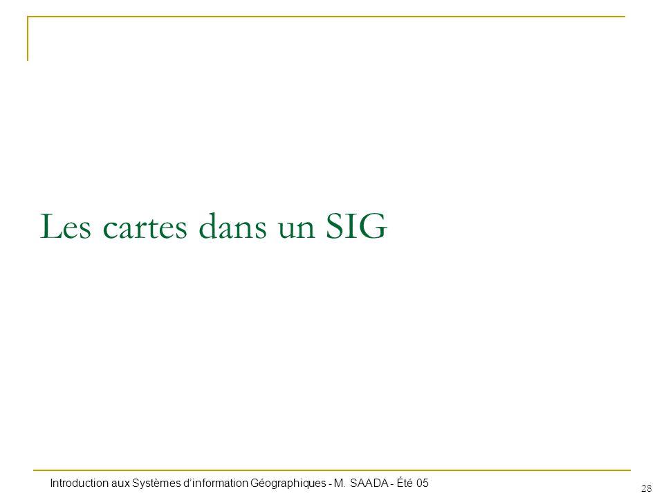 Introduction aux Systèmes dinformation Géographiques - M. SAADA - Été 05 28 Les cartes dans un SIG