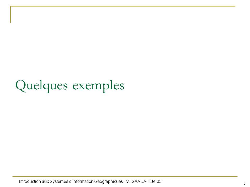 Introduction aux Systèmes dinformation Géographiques - M. SAADA - Été 05 3 Quelques exemples