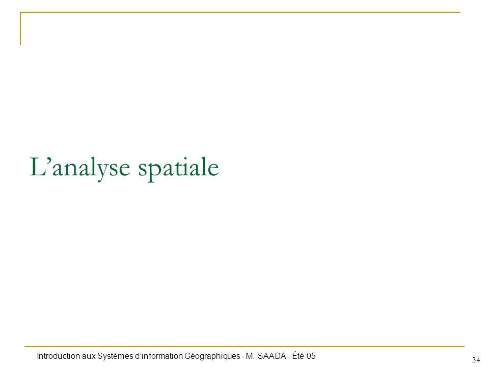 Introduction aux Systèmes dinformation Géographiques - M. SAADA - Été 05 34 Lanalyse spatiale