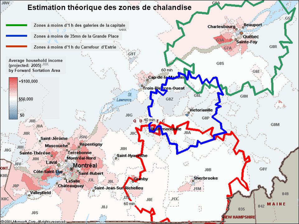 Introduction aux Systèmes dinformation Géographiques - M. SAADA - Été 05 45 Zones à moins d1 h de galeries de la capitale Zones à moins d35mn de Grand