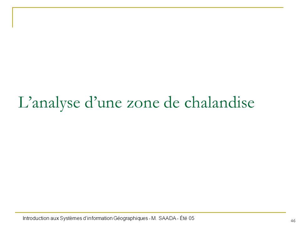 Introduction aux Systèmes dinformation Géographiques - M. SAADA - Été 05 46 Lanalyse dune zone de chalandise