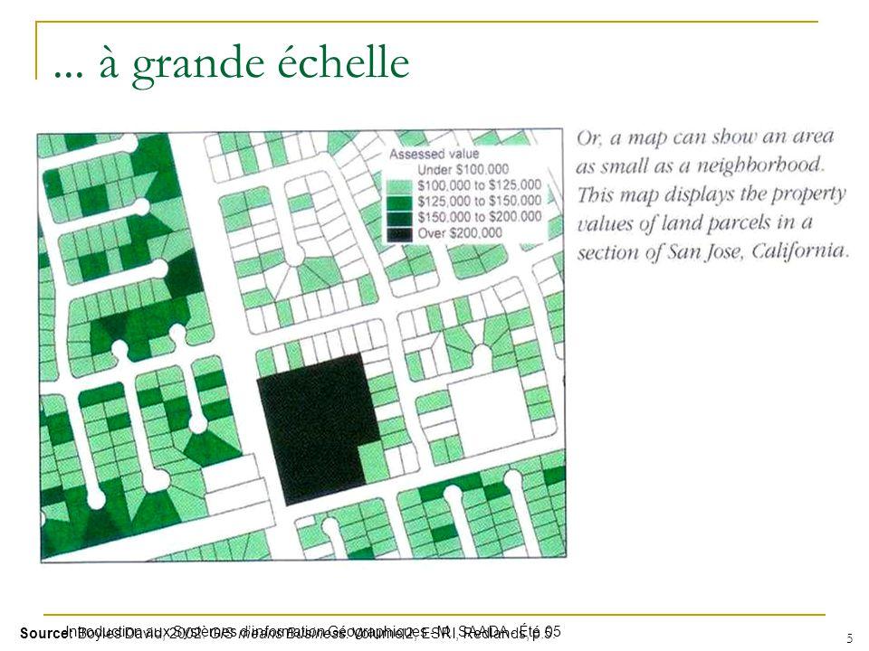 Introduction aux Systèmes dinformation Géographiques - M. SAADA - Été 05 5 Source: Boyles David, 2002. GIS means Business. Volume 2, ESRI, Redlands, p