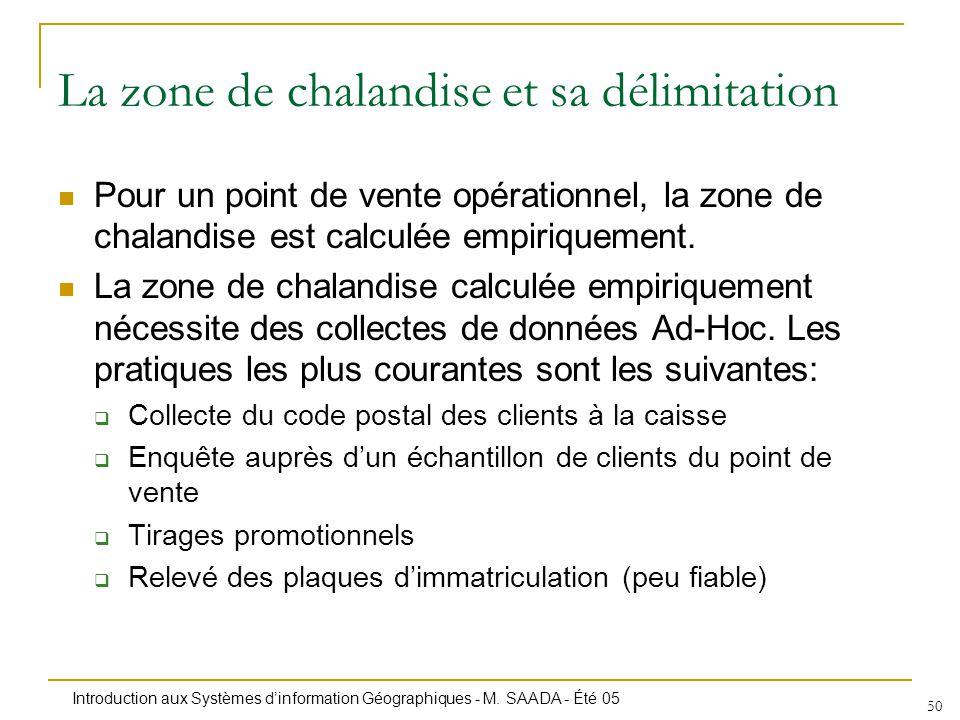 Introduction aux Systèmes dinformation Géographiques - M. SAADA - Été 05 50 Pour un point de vente opérationnel, la zone de chalandise est calculée em