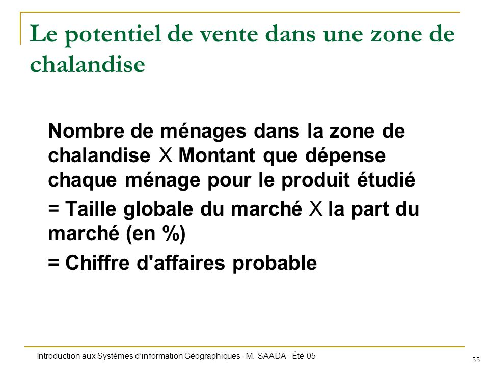 Introduction aux Systèmes dinformation Géographiques - M. SAADA - Été 05 55 Le potentiel de vente dans une zone de chalandise Nombre de ménages dans l