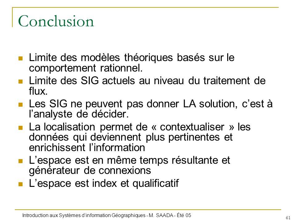 Introduction aux Systèmes dinformation Géographiques - M. SAADA - Été 05 61 Conclusion Limite des modèles théoriques basés sur le comportement rationn