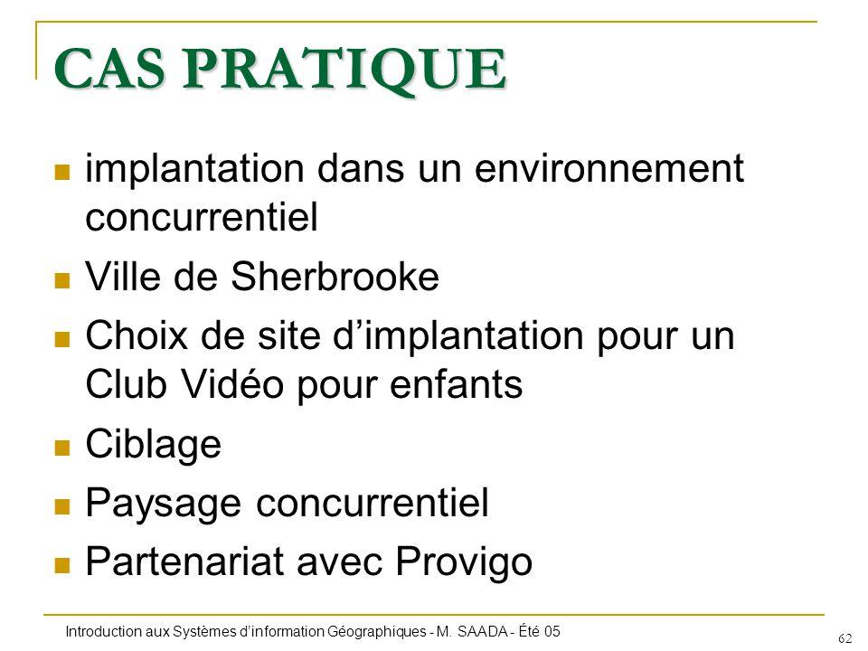 Introduction aux Systèmes dinformation Géographiques - M. SAADA - Été 05 62 CAS PRATIQUE implantation dans un environnement concurrentiel Ville de She