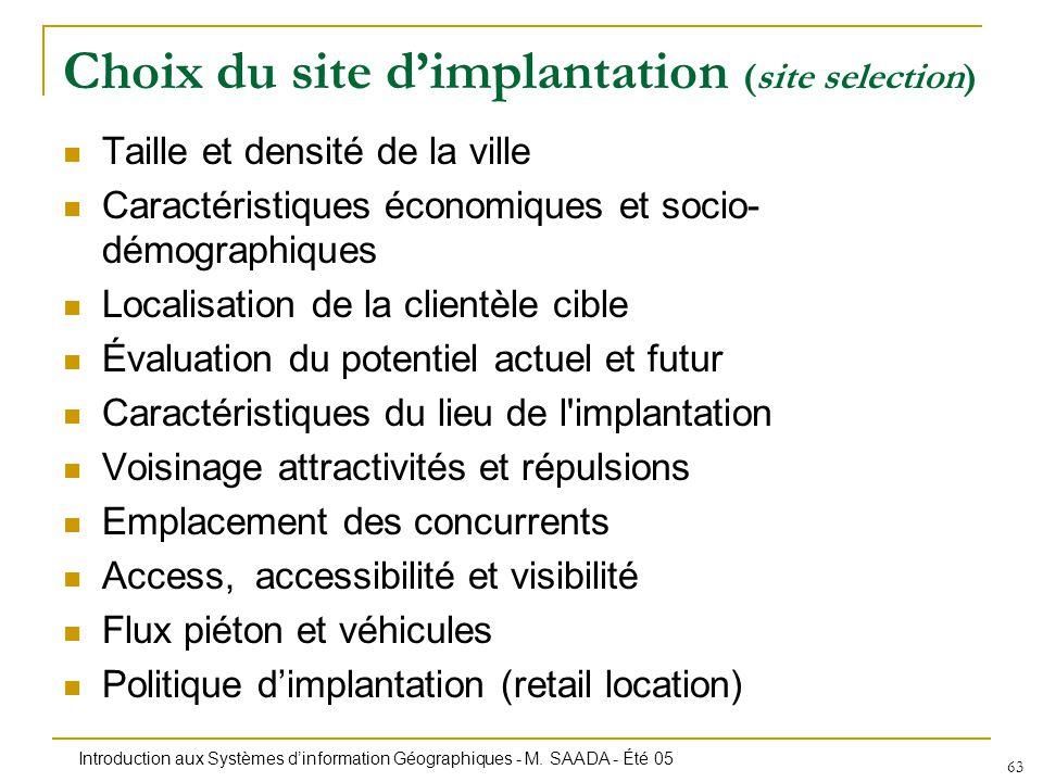 Introduction aux Systèmes dinformation Géographiques - M. SAADA - Été 05 63 Choix du site dimplantation (site selection) Taille et densité de la ville