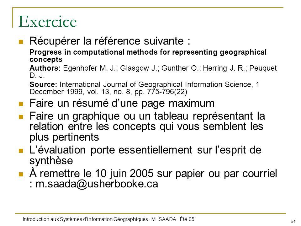 Introduction aux Systèmes dinformation Géographiques - M. SAADA - Été 05 64 Exercice Récupérer la référence suivante : Progress in computational metho