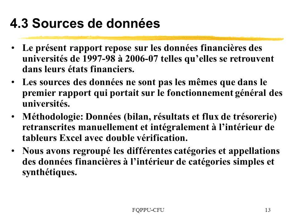 FQPPU-CFU13 Le présent rapport repose sur les données financières des universités de 1997-98 à 2006 07 telles quelles se retrouvent dans leurs états financiers.