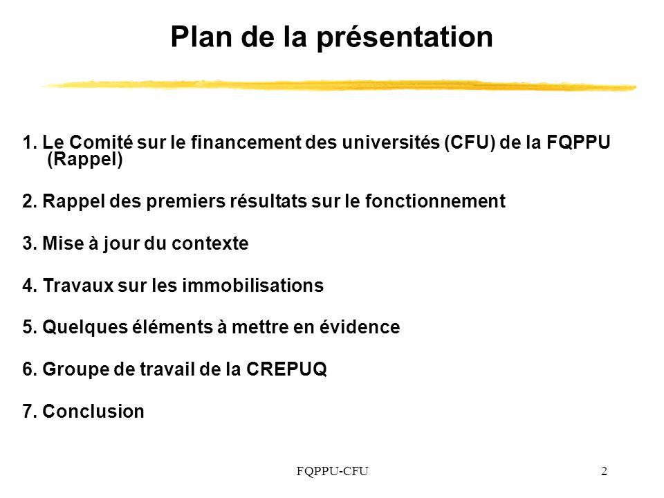 FQPPU-CFU43 Membres actuels du comité sur le financement des universités Denis Auger (SPPUQTR) Carole Beaulieu (SPPUS) Louise Briand (UQO) Régis Fortin (SPPUQAR) Alain Gamelin (SPPUQTR) Brendan Gillon (MAUT/APBM) François Godard (UQAT) Mario Jolicoeur (APEP) Vincent Morin (SPPUQAC) Luc Nadeau (SPPTU) Max Roy (FQPPU) Michel Umbriaco (TÉLUQ-UQAM), président du comité Martin Maltais, coordonnateur de léquipe de travail