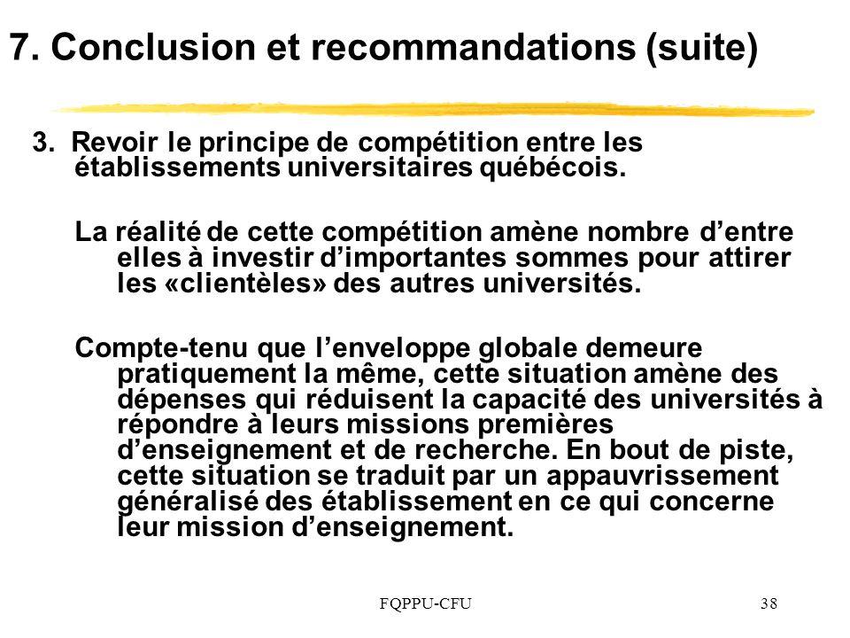 FQPPU-CFU38 7.Conclusion et recommandations (suite) 3.