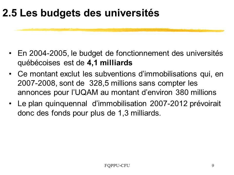 FQPPU-CFU9 2.5 Les budgets des universités En 2004-2005, le budget de fonctionnement des universités québécoises est de 4,1 milliards Ce montant exclut les subventions dimmobilisations qui, en 2007-2008, sont de 328,5 millions sans compter les annonces pour lUQAM au montant denviron 380 millions Le plan quinquennal dimmobilisation 2007-2012 prévoirait donc des fonds pour plus de 1,3 milliards.