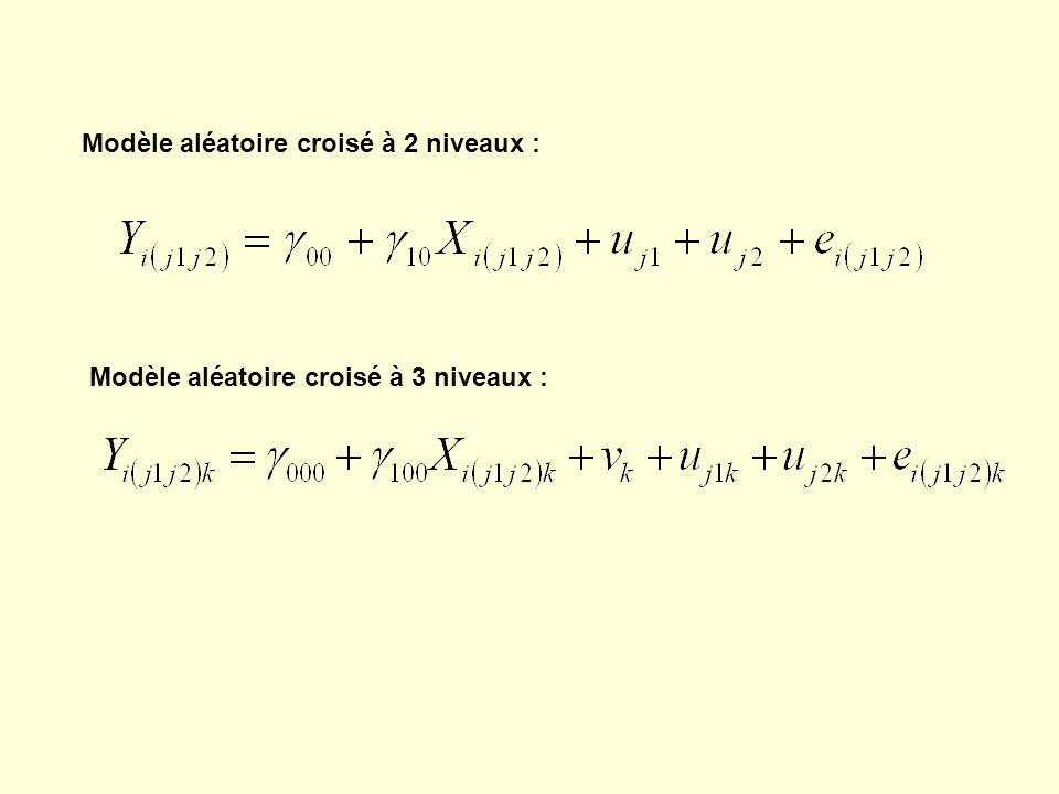 Modèle aléatoire croisé à 2 niveaux : Modèle aléatoire croisé à 3 niveaux :