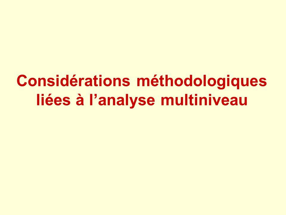 Considérations méthodologiques liées à lanalyse multiniveau