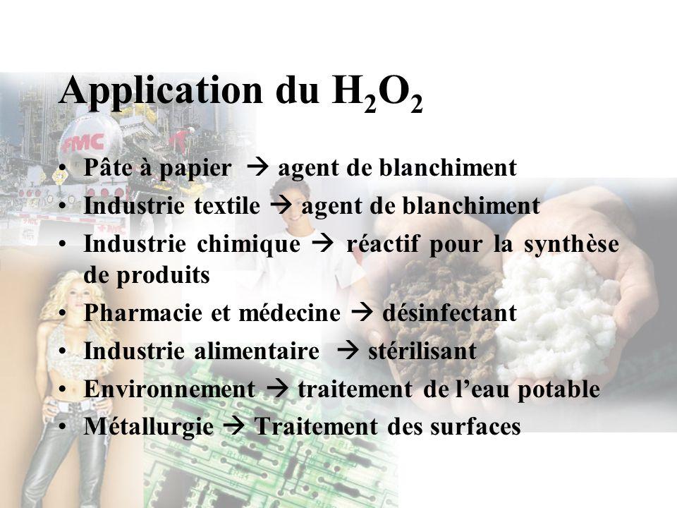 Application du H 2 O 2 Pâte à papier agent de blanchiment Industrie textile agent de blanchiment Industrie chimique réactif pour la synthèse de produi