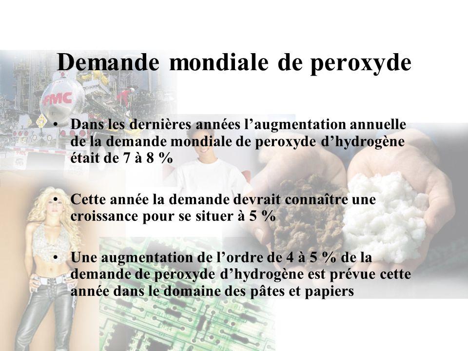 Demande mondiale de peroxyde Dans les dernières années laugmentation annuelle de la demande mondiale de peroxyde dhydrogène était de 7 à 8 % Cette ann