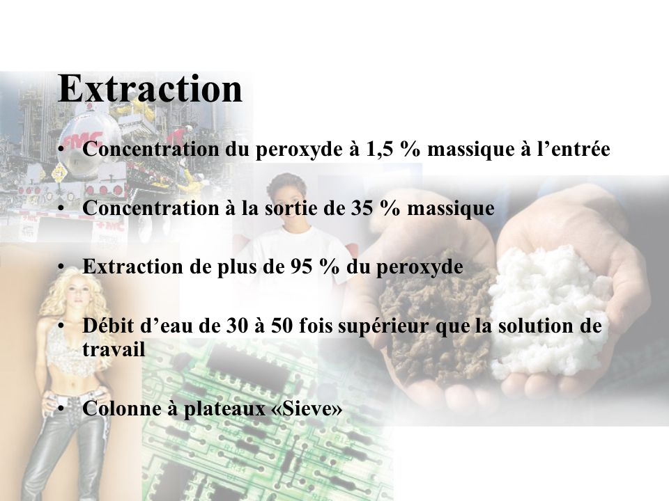 Extraction Concentration du peroxyde à 1,5 % massique à lentrée Concentration à la sortie de 35 % massique Extraction de plus de 95 % du peroxyde Débi
