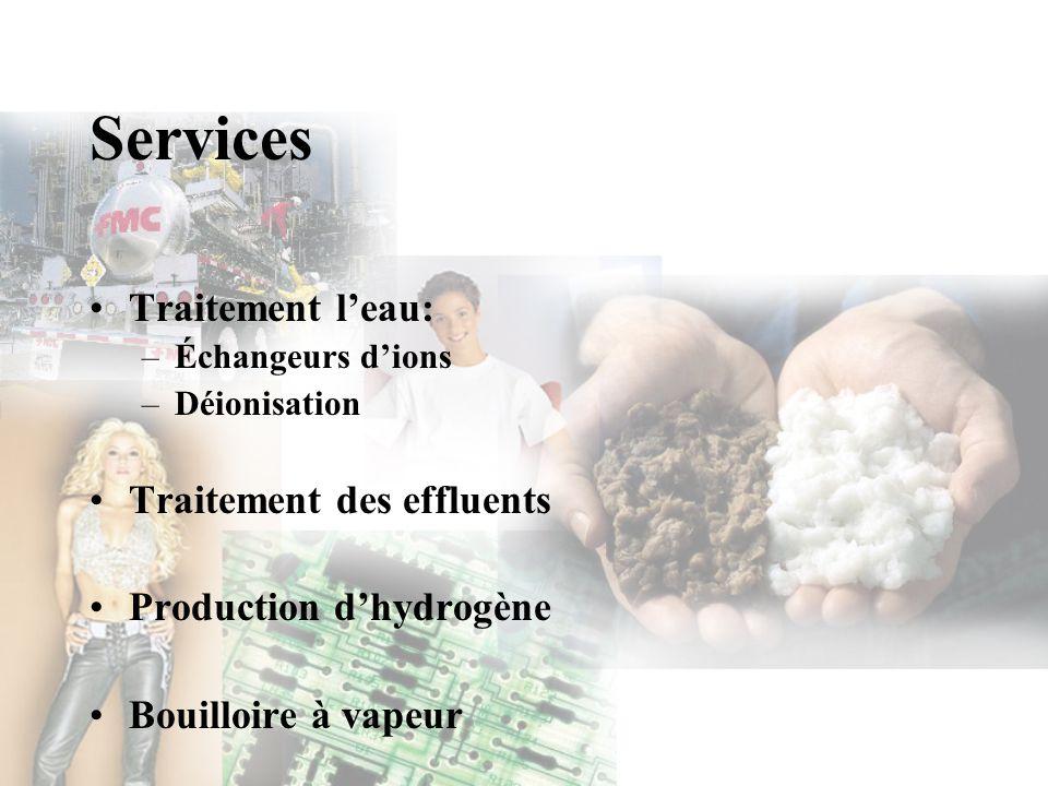 Services Traitement leau: –Échangeurs dions –Déionisation Traitement des effluents Production dhydrogène Bouilloire à vapeur