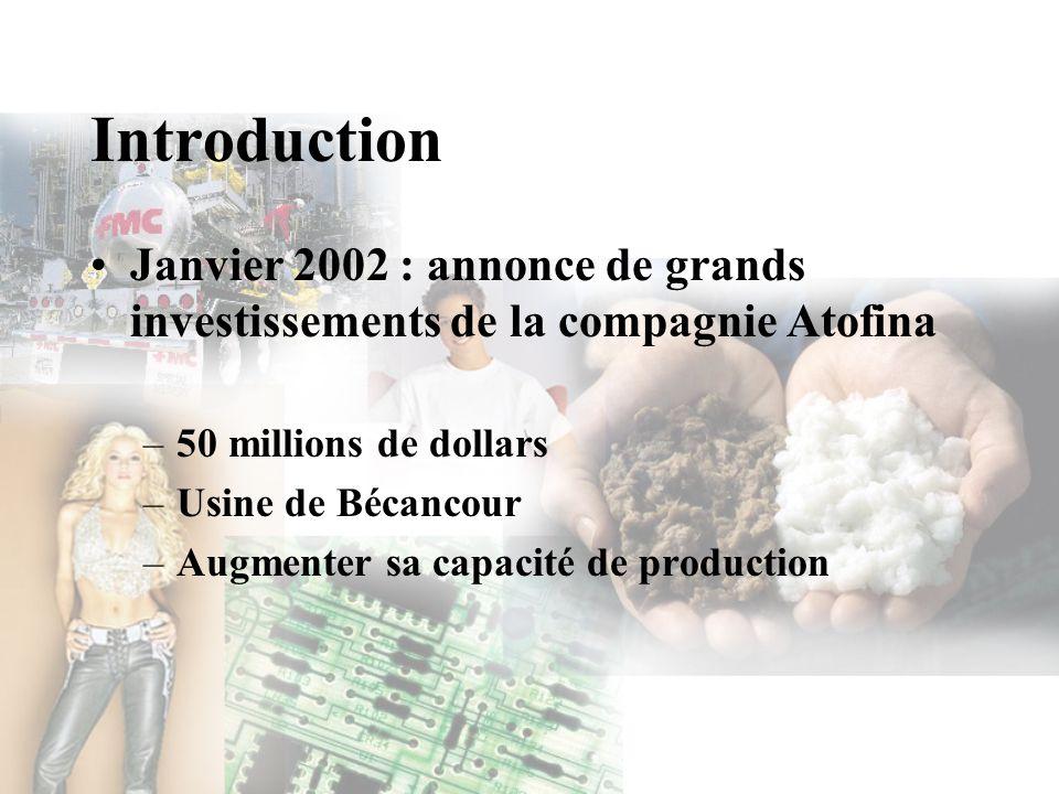 Introduction Janvier 2002 : annonce de grands investissements de la compagnie Atofina –50 millions de dollars –Usine de Bécancour –Augmenter sa capaci