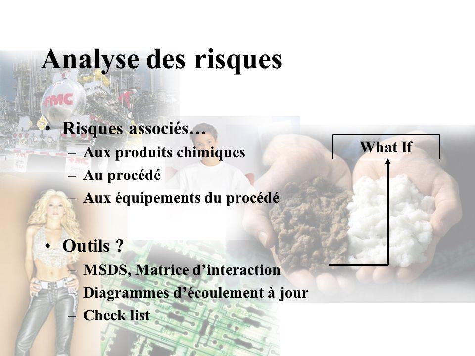 Analyse des risques Risques associés… –Aux produits chimiques –Au procédé –Aux équipements du procédé Outils ? –MSDS, Matrice dinteraction –Diagrammes