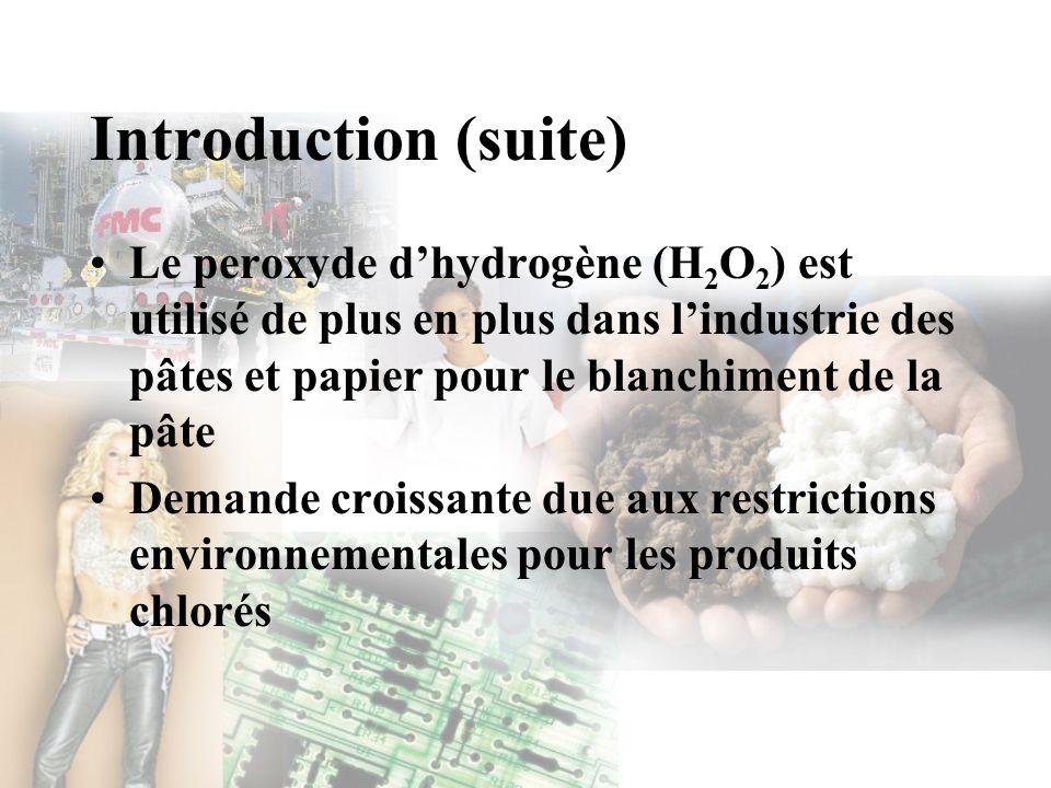 Objectifs du projet Étude dingénierie préliminaire pour la construction dune usine de H 2 O 2 –70 000 tonnes (70 % )/année –Technologie par oxydation de lanthraquinol –Usine au Québec –Marché : pâtes et papier