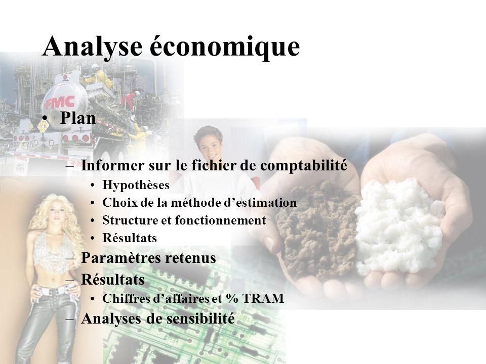 Analyse économique Plan –Informer sur le fichier de comptabilité Hypothèses Choix de la méthode destimation Structure et fonctionnement Résultats –Par