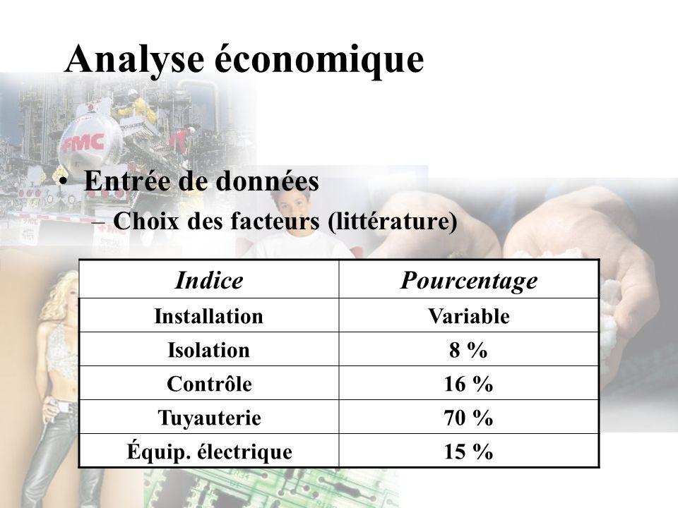Analyse économique Entrée de données –Choix des facteurs (littérature) IndicePourcentage InstallationVariable Isolation8 % Contrôle16 % Tuyauterie70 %