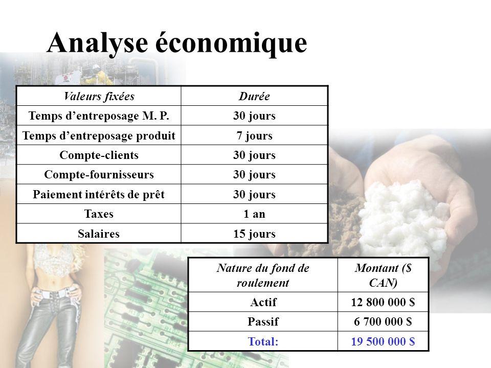 Analyse économique Valeurs fixéesDurée Temps dentreposage M. P.30 jours Temps dentreposage produit7 jours Compte-clients30 jours Compte-fournisseurs30