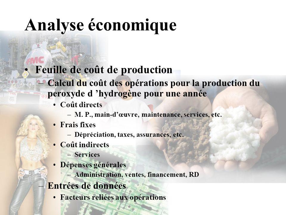 Analyse économique Feuille de coût de production –Calcul du coût des opérations pour la production du peroxyde d hydrogène pour une année Coût directs