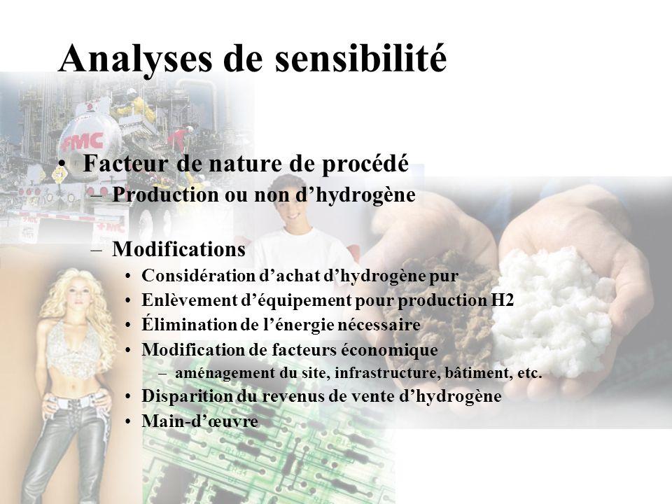 Analyses de sensibilité Facteur de nature de procédé –Production ou non dhydrogène –Modifications Considération dachat dhydrogène pur Enlèvement déqui