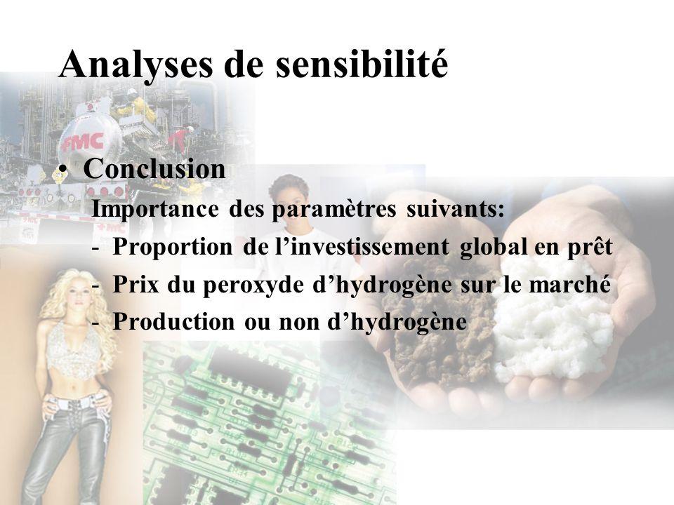 Analyses de sensibilité Conclusion Importance des paramètres suivants: -Proportion de linvestissement global en prêt -Prix du peroxyde dhydrogène sur