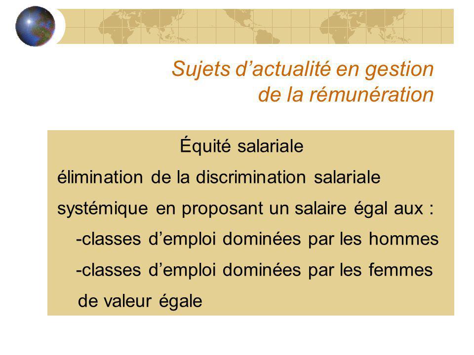Sujets dactualité en gestion de la rémunération Équité salariale élimination de la discrimination salariale systémique en proposant un salaire égal au