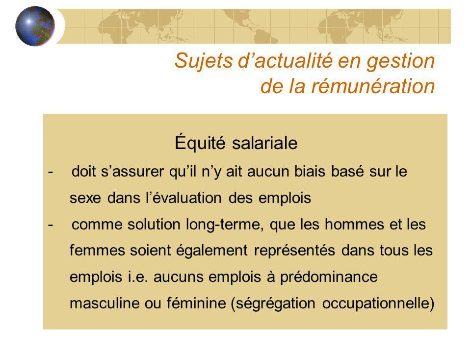Sujets dactualité en gestion de la rémunération Équité salariale -doit sassurer quil ny ait aucun biais basé sur le sexe dans lévaluation des emplois