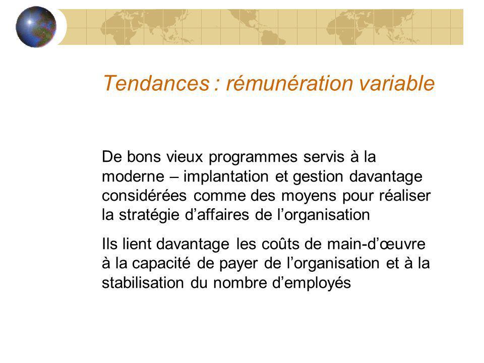 Tendances : rémunération variable De bons vieux programmes servis à la moderne – implantation et gestion davantage considérées comme des moyens pour r