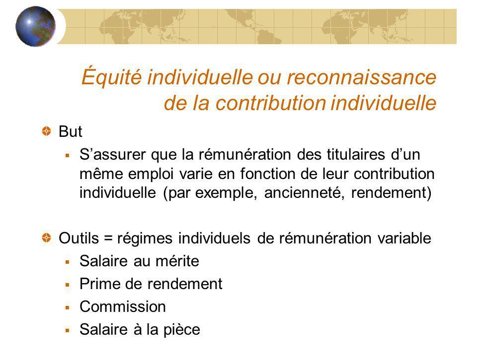 Équité individuelle ou reconnaissance de la contribution individuelle But Sassurer que la rémunération des titulaires dun même emploi varie en fonctio
