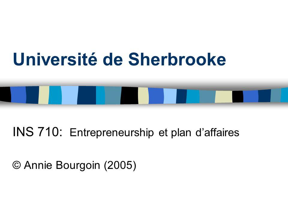 Université de Sherbrooke INS 710: Entrepreneurship et plan daffaires © Annie Bourgoin (2005)