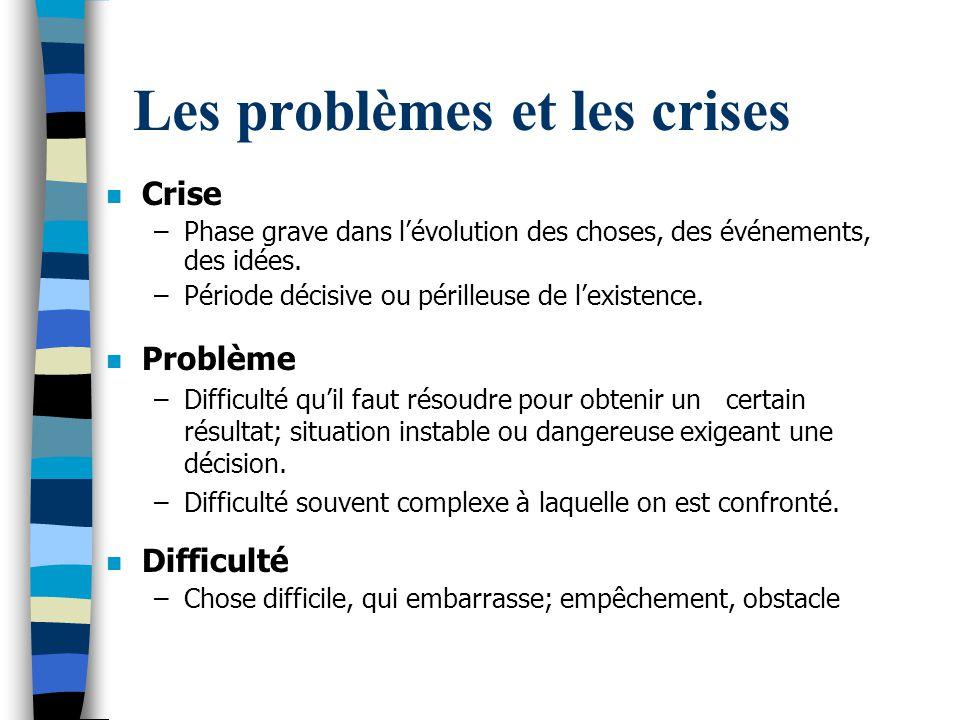 Les problèmes et les crises n Crise –Phase grave dans lévolution des choses, des événements, des idées. –Période décisive ou périlleuse de lexistence.