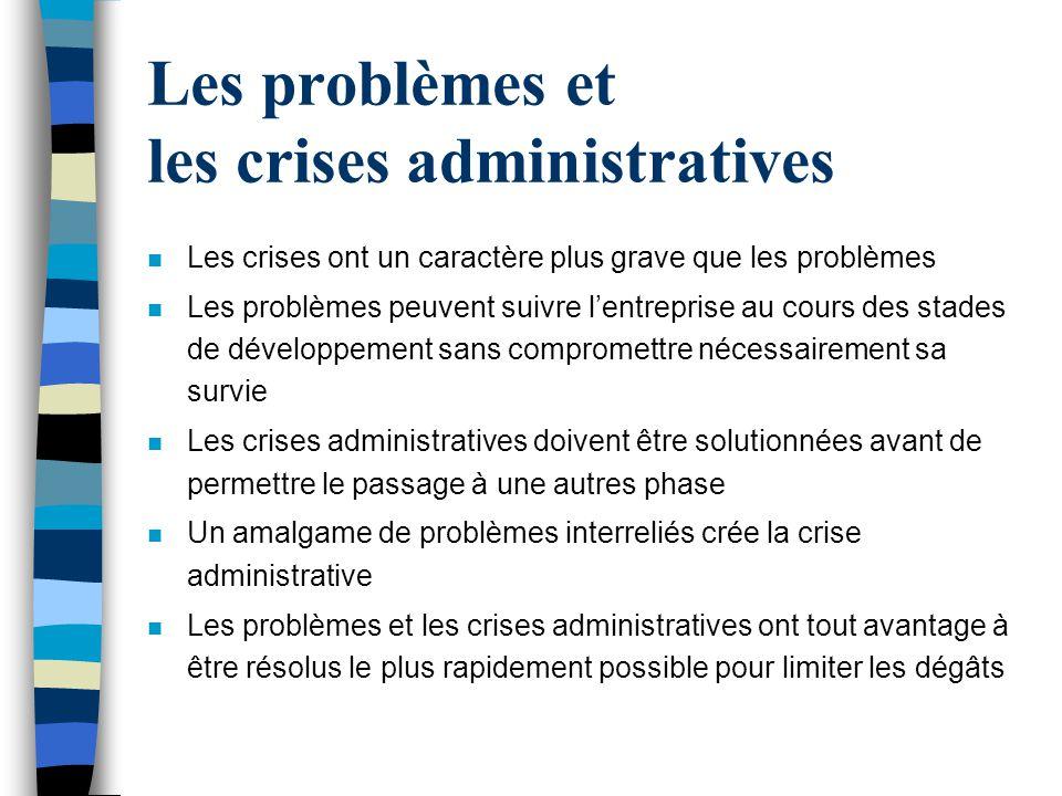 Les problèmes et les crises administratives n Les crises ont un caractère plus grave que les problèmes n Les problèmes peuvent suivre lentreprise au c