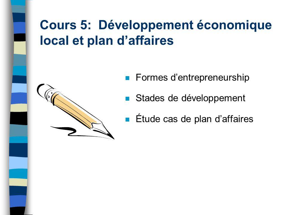 Cours 5: Développement économique local et plan daffaires n Formes dentrepreneurship n Stades de développement n Étude cas de plan daffaires