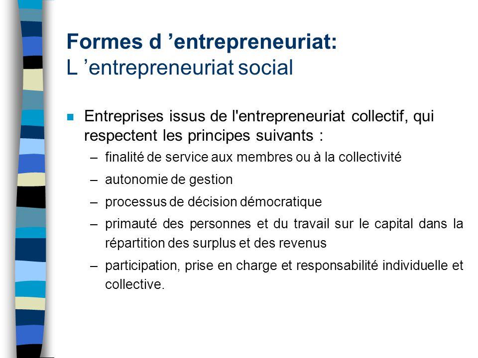 Formes d entrepreneuriat: L entrepreneuriat social n Entreprises issus de l'entrepreneuriat collectif, qui respectent les principes suivants : –finali