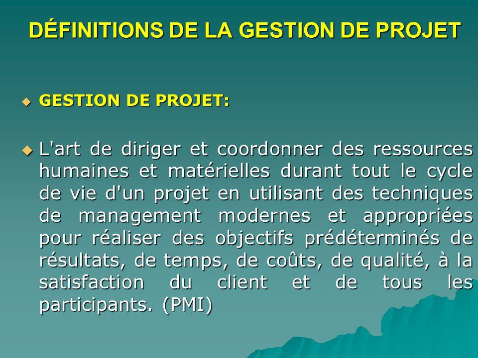 DÉFINITIONS DE LA GESTION DE PROJET GESTION DE PROJET: GESTION DE PROJET: L'art de diriger et coordonner des ressources humaines et matérielles durant
