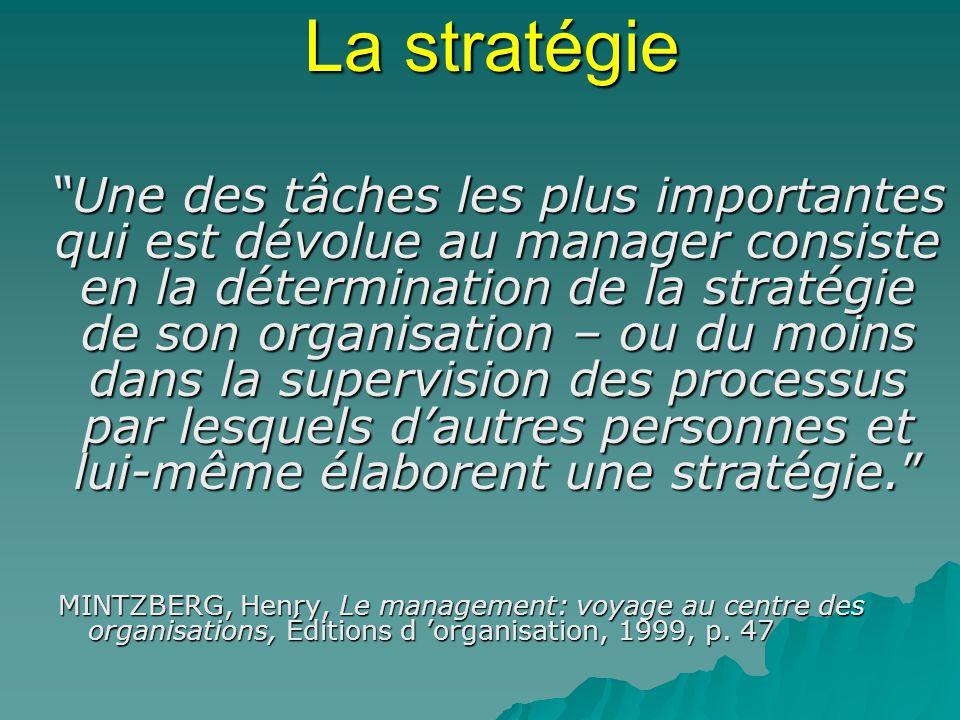 La stratégie Une des tâches les plus importantes qui est dévolue au manager consiste en la détermination de la stratégie de son organisation – ou du m